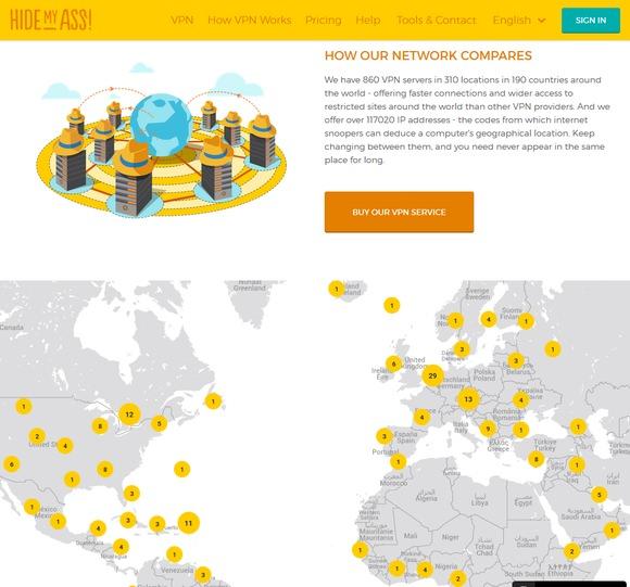 HideMyAss Server Standorte
