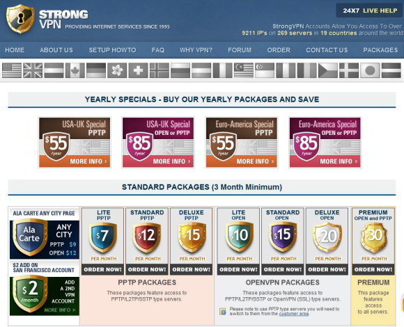 StrongVPN Accountübersicht